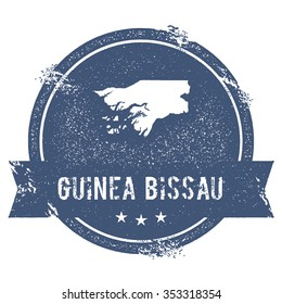 Travel rubber stamp with the name and map of Guinea Bissau, vector illustration. Can be used as insignia, logotype, label or badge vector design element.
