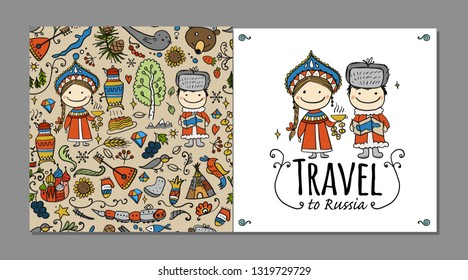 Travel to Russia. Greeting card for your design