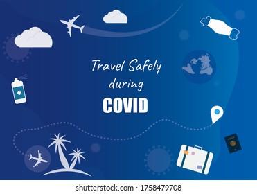 Viaje con seguridad durante la ilustración gráfica del vector de fondo COVID. Elemento gráfico de banner web para el concepto de viaje desinfectante