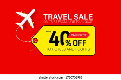 Travel sale banner with yellow tag. Hot fares for domestic and International flights. Greatest deal on sale flights, book hotels online. Cheap travel offer.