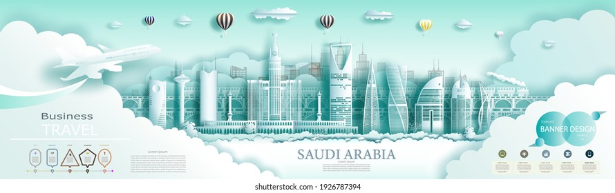Travel Saudi arabia top world modern skyline and famous city architecture. Modern business brochure design for advertising with infographics.Tour saudi landmark of Asia with popular skyline. Paper art