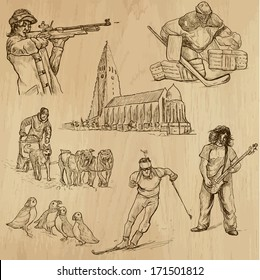 Travel : SCANDINAVIA set no.3 (Denmark, Norway, Sweden and Island). Collection of hand drawn illustrations. Each drawing comprises two or three layers of outlines, the colored background is isolated.