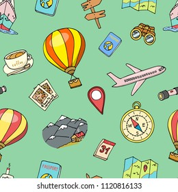 Travel seamless pattern, adventure or business trip. elements doodle hand drawn, engraved vector. background summer vacation. journey objects and passenger luggage. sketches collection.