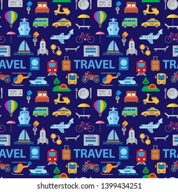 travel seamless pattern of resort, cruise and transport