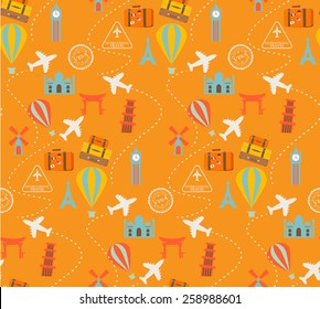 travel seamless pattern, Pattern Swatches, vector, Endless texture can be used for wallpaper, pattern fills, web page,background,surface