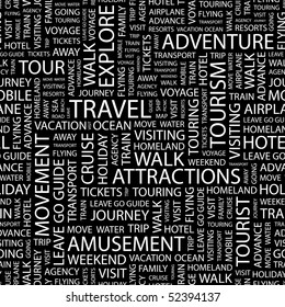 TRAVEL. Seamless vector pattern with word cloud.