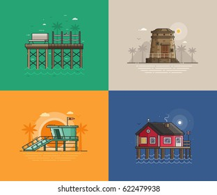 Travel seaside landscapes set with different sea coast scenes. Summer beach backgrounds with lighthouse, lifeguard tower, wooden jetty pier and fisherman house. Summer holidays concept illustrations.