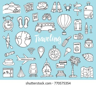 Travel set, adventure or business trip. elements doodle hand drawn, engraved vector. planning summer vacation. journey objects and passenger luggage. sketches collection. map and plane and mountains.