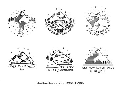 Travel set with emblems. Summer vector illustrations. Design for t-shirt