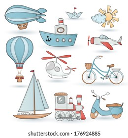 Travel set. Ground, water and air vehicle on white background.