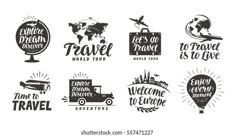 Travel Set Icons Handwritten Lettering Label Vector Illustration