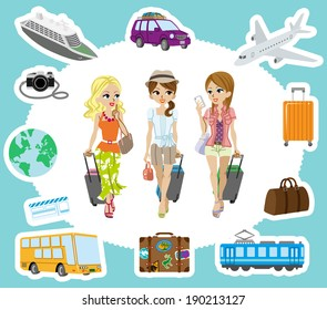 Travel set , Three Girls