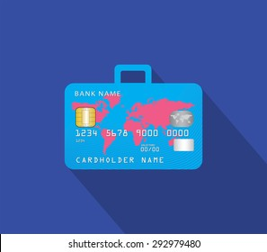 Travel and shop with credit card and luggage concept in flat design style and long shadow