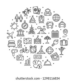 Travel Signs Round Design Template Thin Line Icon Concept Include of Airplane, Passport, Suitcase, Car, Camera and Bus. Vector illustration