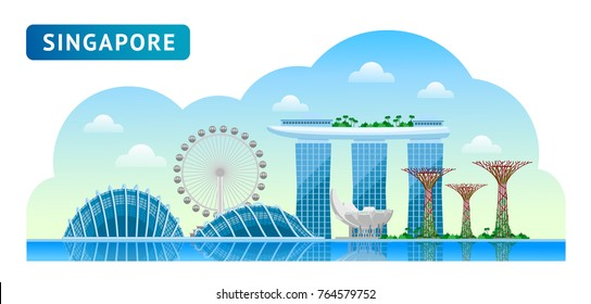 Travel to Singapore. Beautiful horizontal panoramic view. Morning, afternoon, day, sunrise, dawn. Vector flat illustration.