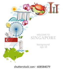 travel singapore culture background objects info set text collection