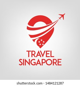 Travel Singapore logo template vector with travel pin and airplane