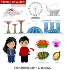 Travel to Singapore. Set of traditional cultural symbols. A collection of colorful illustrations for the guidebook.Singaporeans peoples in national dress. Man and woman. Singapore attractions.