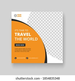 Travel social media post & square banner template,  travel agency promotional web banner or social media banner template, Abstract social media design post travel.