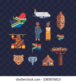 Travel to South Africa, pixel art 80s style icons, African national flag and map, people in traditional dress, ethnic elements culture. Isolated vector illustration. 8-bit. Design sticker, logo, app.