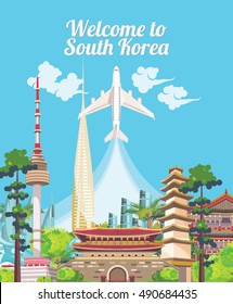 Travel to South Korea. South Korea travel vector poster with pagodas and traditional signs. Korea Journey card with korean objects