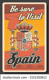 Travel to Spain poster with map and coat of arms in colors of Spanish flag. Vector heraldic lion, castle, crown of Aragon and cross with chains on shield with fleur-de-lis, Spanish crown, columns