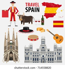 Travel to Spain. A set of Spanish traditional architecture, clothing, food, culture. Collection of Spanish landmark elements isolated on white background vector illustration flat