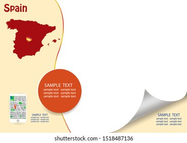 Travel Spain template vector in red and light yellow color showing the blind Spanish map and smart  phone with city map app on the left side and a lot of a free space for your text on the right side.