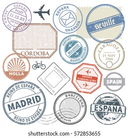 Travel stamps or adventure symbols set Spain theme vector illustration.