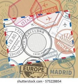 Travel stamps or adventure symbols set or background, vector illustration