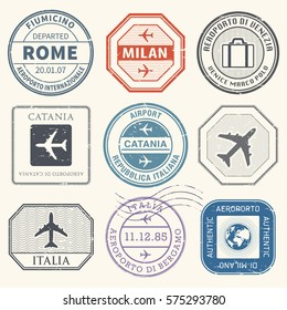 Travel stamps or adventure symbols set Italy airport theme, vector illustration