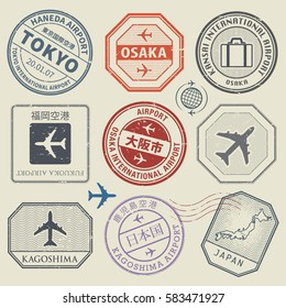 Travel stamps or adventure symbols set, Japan airport theme, names of airports also in japanese language, vector illustration