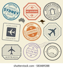 Travel stamps or adventure symbols set Australia airport theme vector illustration