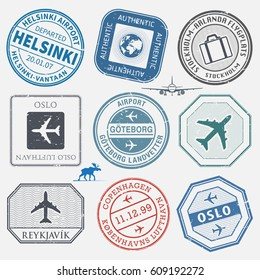 Travel stamps or adventure symbols set, Scandinavian airport theme, names of airports also in scandinavian languages, vector illustration