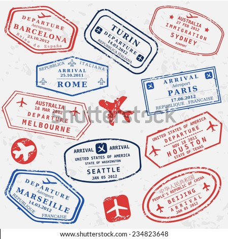Travel stamps background Fictitious