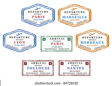 Travel stamps from France. Grungy scalable stamps (not real). French destinations: Paris, Marseille, Lyon, Bordeaux, Toulouse and Nantes.