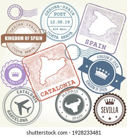 Travel stamps set Barcelona, Catalonia and Spain theme, labels and stickers, vector