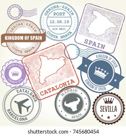 Travel stamps set Barcelona, Catalonia and Spain theme