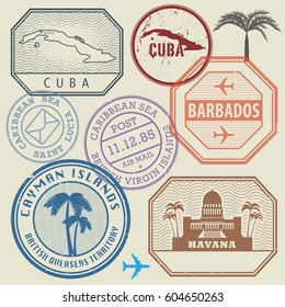 Travel stamps set Caribbean Sea theme, vector illustration