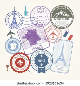 Travel stamps set - France and Paris journey symbols and labels, vector