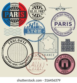 Travel stamps set, France theme, vector illustration