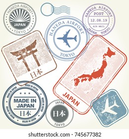 Travel stamps set Japan and Tokyo theme (with inscription Japan on Japanese  language)