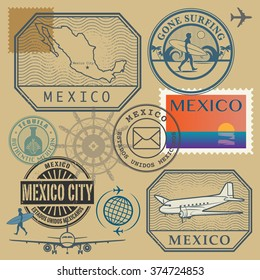 Travel stamps set, Mexico, vector illustration