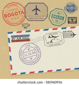 Travel stamps set with the names of South America cities, vector illustration