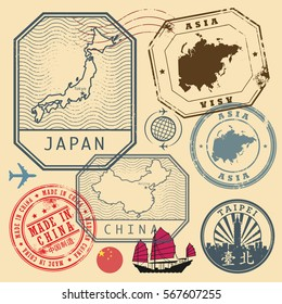 Travel stamps set with the text Asia, Japan, China, Made in China (in chinese language too), vector illustration