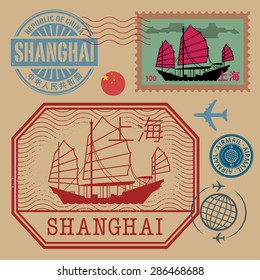 Travel stamps set with the text Shanghai (in chinese language too), vector illustration