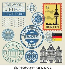 Travel stamps set, vector illustration. translation: airmail