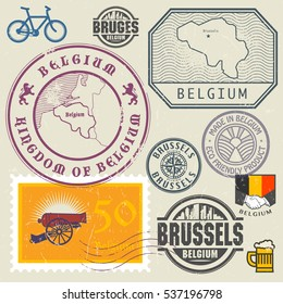Travel stamps or symbols set, Belgium, Brussels theme, vector illustration.