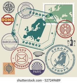 Travel stamps or symbols set, Europe destinations theme, vector illustration