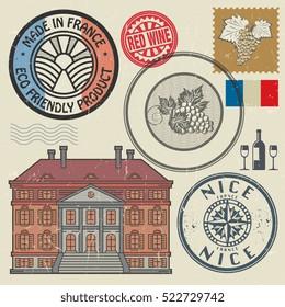 Travel stamps or symbols set, France theme, vector illustration